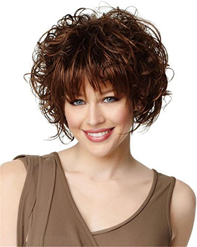 MSKAY-COSPLAY Fluffy Loose Curl Fibre synthétique Stylish Women's Short Hair Wigs with Flat Bang, Naturel comme réel, Marron
