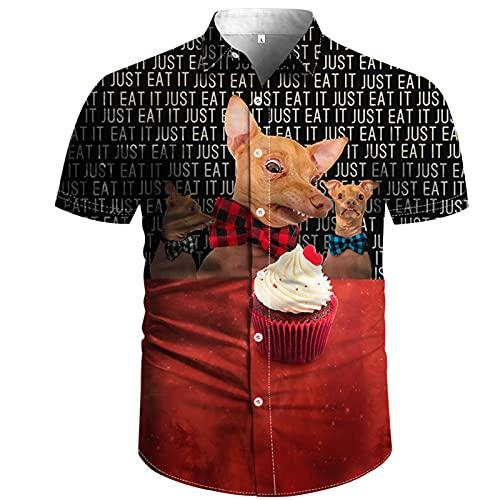 Ocuhiger Camisa Hawaiana para Hombre Camisas con Botones De Cuello Redondo Verano 3D Estampado De Animales Tops De Manga Corta Blusa De Playa Informal Negro Rojo