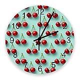 Home Reloj de Pared Redondo de Madera Vintage silencioso de 10 Pulgadas, Cereza, fácil de Leer y Funciona con Pilas, Reloj Que no Hace tictac para Oficina / Cocina / Dormitorio / Sala de Estar / Aula