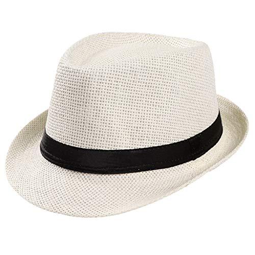 RISTHY Sombrero de Paja Unisex Gorro de Pescador Sombrero de Sol Visera Panamá Plegable con Protección Solar Gorro Al Aire Libre Verano Playa Vacaciones Fiesta para Mujer y Hombre
