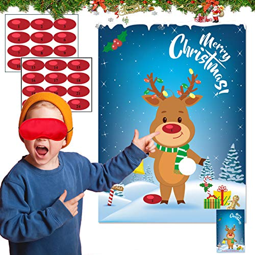 Christmas Party Games for Kids Pin The Nose On The Reindeer Kids Christmas Games for Party Christmas Activities for Families Pin The Nose On The Reindeer for Adults Holiday Christmas Day Games