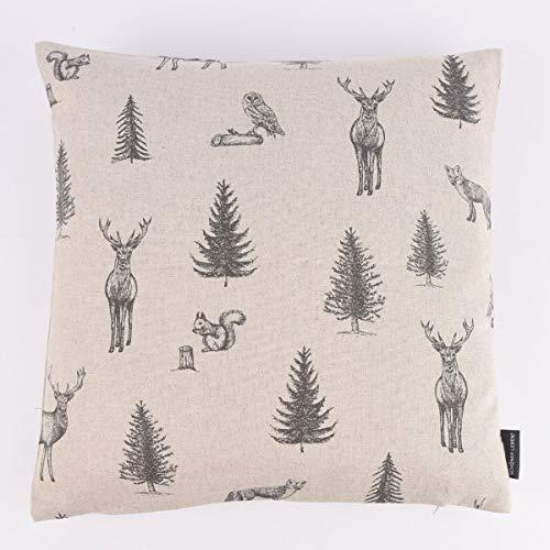 SCHÖNER LEBEN. Cushion Cover Deer Fox Tree Forest Natural Black 50 x 50 cm