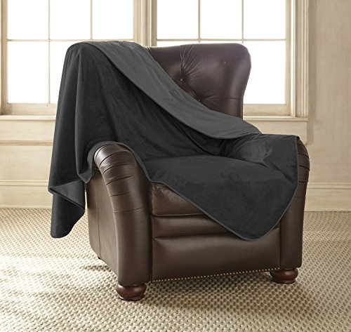 Mambe 100% Waterproof Silky Soft Throw for Dogs, Cats, and People (Large 60'x 84', Black-Charcoal) Made in The USA