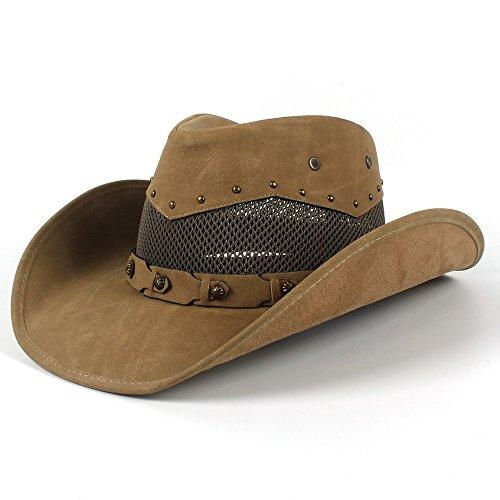 Schönheit Hut Männer Leder Western Cowboyhut Sommer Mit Mesh Papa Pate Hüte 58-59 CM Sonnenschirm Hut (Farbe : Khkai, Größe : 58-59cm)