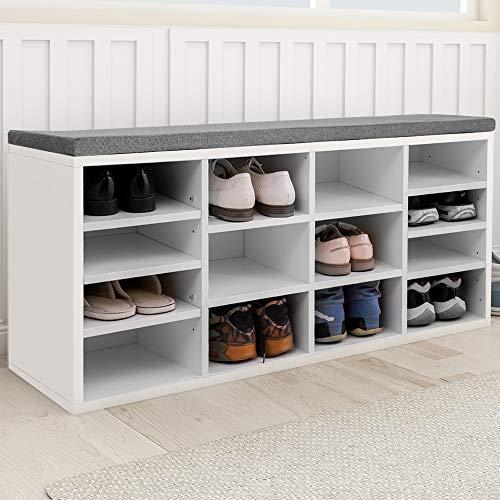 Keebgyy Banco zapatero zapatero con 14 compartimentos acolchados para entrada, pasillo, dormitorio, 103,5 x 30 x 48 cm