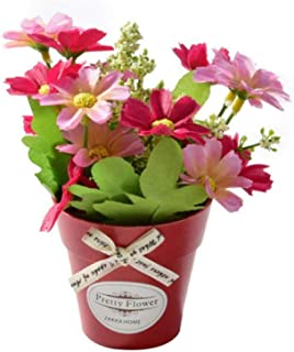 WanTo Flor de crisantemo Falso con florero de plástico Bonsai Flores Artificiales para la Fiesta de Bodas Jardín decoración de casa de Campo Flor Falsa, Rosa
