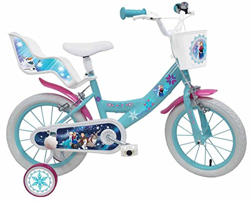 Disney - Bicicleta Infantil, Color Blanco y Azul, tamaño 14 Pulgadas
