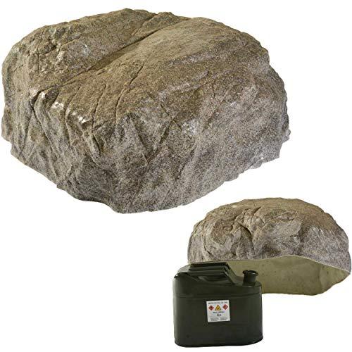 GARTENDEK Piedra Grande Decorativa para el Jardín Exterior, Roca Artificial Hueca y Falsa para el Diseño de Patio, Oculta Utilidades, Cubre (M-03, Gris)