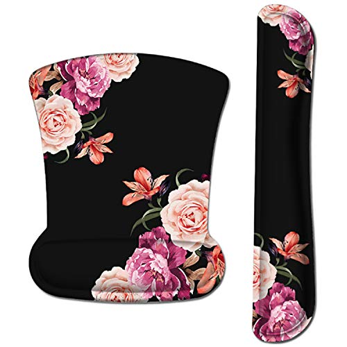 iLeadon Keyboard Wrist Rest Pad and Mouse Wrist Rest Support Mouse Pad Set, Non Slip Rubber Base Wrist Support with Ergonomic Raised Memory Foam for Easy Typing & Pain Relief, Adorable Peony Flower