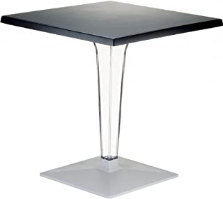 Compamia Ice Werzalit Top Dining Table with Transparent Base in Black