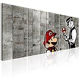 murando Impression sur Toile intissee Banksy Mario 200x80 cm Tableau 5 Parties Tableaux Decoration Murale Photo Image Artistique Photographie Graphique Street Art Urban Mural i-C-0111-b-m