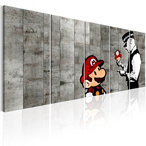 murando Akustikbild Banksy Mario 225x90 cm Bilder Hochleistungsschallabsorber Schallschutz Leinwand Akustikdämmung 5 TLG Wandbild Raumakustik Schalldämmung - Street Art Urban i-C-0111-b-m