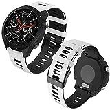 Th-some 22mm Repuesto de Correa para Samsung Galaxy Watch 3 (45mm)/Gear S3 Frontier/Classic/Galaxy Watch 46mm/Huawei GT/GT2 46mm, Banda de Reloj de Silicona Bicolor Ajustable (Blanco negro)