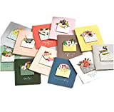 24-Pack 3D Ins Mini Handmade Greeting Cards with Flamingo Animals Cartoon Design, Wedding Invitation Birthday Holiday Valentine Day Gift Ornament,Special for Kids Teachers Mother Daughter Children with Envelopes (Mini Cards)