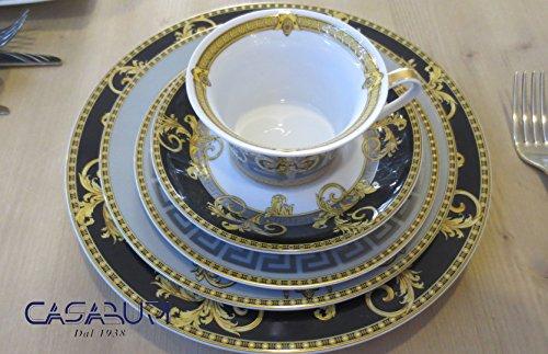 Versace Prestige Gala Set 5 Stück (Speiseteller 27-Teller Obst 22 cm - Suppenteller 22 cm - Tasse Tee Teller x Tasse Tee)