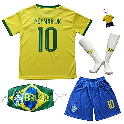 BIRDBOX 2021 Brazil Home Yellow #10 Neymar Kids Soccer Jersey & Shorts Set Youth Sizes (Gold, 26 (8-9 Years))