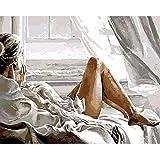 genrics Pintura Al Óleo DIY - Pintura por Numeros Adultos Niños Cuadro Lienzo Manualidades para Pintar - Mujer Sexy En La Cama Mirando El Mar