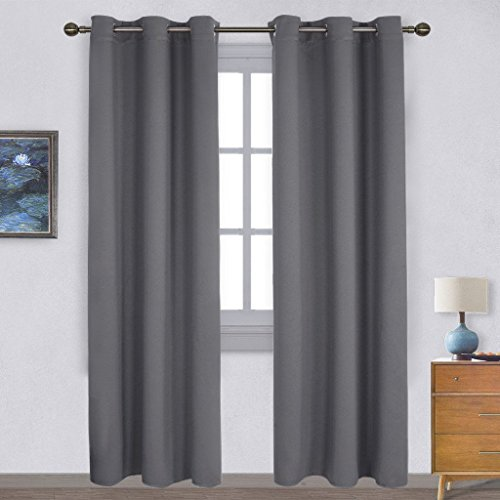 NICETOWN 3 Pass Microfiber Home Decoration Thermal Insulated Solid Ring Top Light Reducing Window Curtains/Drapes (2 Panels, 42 x 84 Inch, Grey)