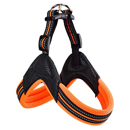 Dog Harness No Pull Ultra Soft Breathable Padded Pet Harness 2 Adjustable Botton, 3M Reflective Pet Harness for Dogs Easy Control for Small Medium Large Dogs (M, Bright Orange)