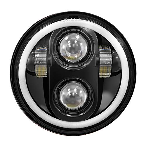 TRUCKMALL 5.75 inch LED Headlight Halo DRL Bulb Light Kit Set for Harley Davidson Street Bob Super Wide Glide Low Rider Night Rod Softail Custom Iron 883 Dyna Indian Scout Triumph Motorcycle Black