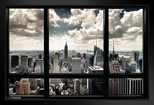Pyramid America New York City Window Skyline Photo Black Wood Framed Poster 20x14