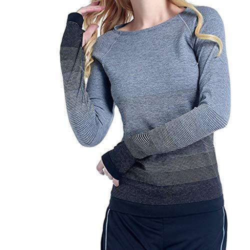 VECDY Frauen T Shirt Mädchen Sexy Allmähliche Sport Frauen Laufen schnell trockene Yoga-Kleidung Fitness Tops Sweatshirt Mode Bluse Pullover S-L