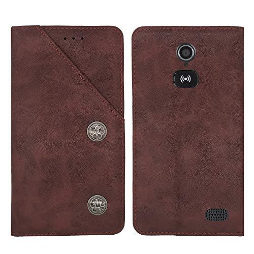 TienJueShi Rot Flip Brief Tasche Case Schütz Hülle Doro 8031 8030 4.5 inch Echt Leder TPU Silikon Stand Handy Abdeckung Premium Wallet Cover Etui