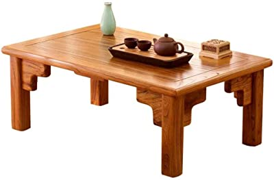Living Room Coffee Table Solid Wood Bay Window Table Balcony Small Coffee Table Platform Low Table Bed Desk Laptop Desk Side Table (Color : Brown, Size : 90 * 50 * 30cm)