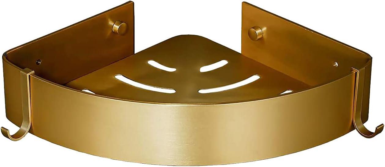 Brushed Gold Bathroom Corner low-pricing Rack Tulsa Mall Shower Ra Wall-Mounted Storage