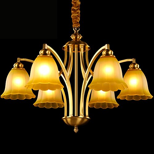 YXGH Pendant Lights- Northern Europe All Copper Chandelier Living Room Bedroom Restaurant Brown Edge Glass Lampshade Down Copper Tube Chandelier Light Fixture 6-head (6647cm)
