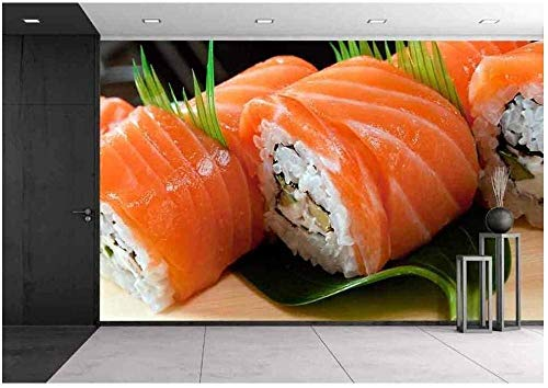 YIERLIFE 3D Tela no tejida Mural de papel pintado Pared - Rollo de salmón cocina japonesa tradicional - 3D Papel Pintado Pared Fotomurales Tejido No Tejido Foto Mural Moderna Diseño Murales Fotográfic