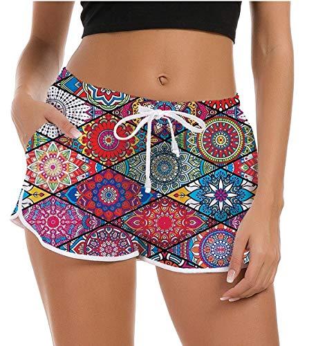 Fanient Damen Hawaiian Strandhose Schwimmen Shorts Schwimmhose Galaxy Mermaid Grafik Yoga Hosen Sommer Lose Kurze Hose Nachtwäsche Pyjama Hosen XL