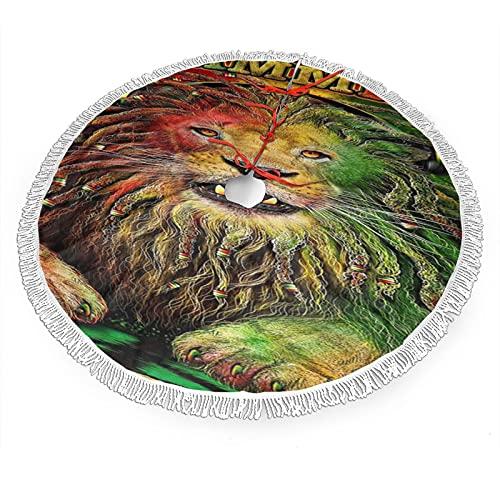 Base de la falda del árbol de Navidad, Jammin Leo León de Jamaica Árbol de Música Mat Navidad con Borla Decoración Adornos Fiesta 30'