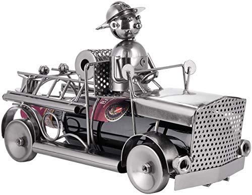 BRUBAKER Soporte para Botellas de Vino de la Brigada de Bomberos - Escultura Metálica de Un Camión de Bomberos - Figura Metálica de 32 Cm. para Regalo de Vino para Bomberos y Bomberas