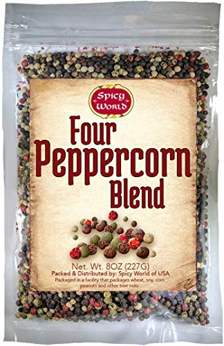 Four Peppercorn Rainbow Blend 8 oz in Resealable Bag – Perfect Flavor Blend - NON-GMO, Steam Sterilized - Whole Black, Whole Green, Whole White & Whole Pink Peppercorns - by Spicy World