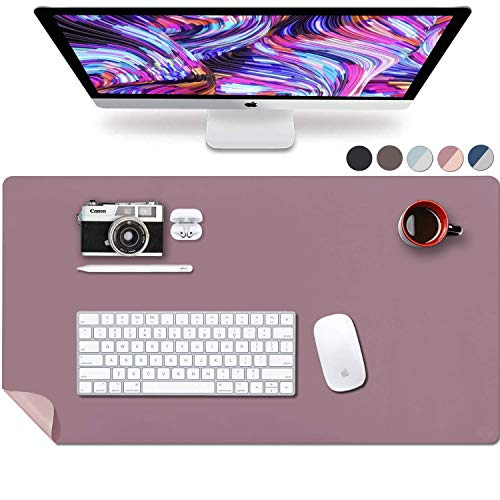 Leather Desk Pad 31.5' x 15.7', Vine Creations Office Desk Mat Waterproof Purple/Pink, Mouse Pad and Writing Surface, Top of Desks Protector, Dual-Sided PU Leather Blotter Accessories Office Decor