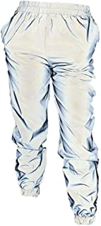 Pink Elephant Womens Reflective Jogger Pants Bright Hip Hop Dance High Visibility Night Silver for Safety Cycling Jogging