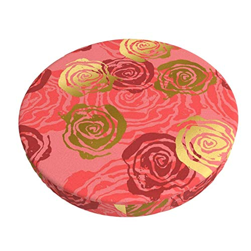 COOL-SHOW Roses Pink and Gold Bar Stool Cushion Covers,Anti-Slip Padded Round Chiar Cushion 13in