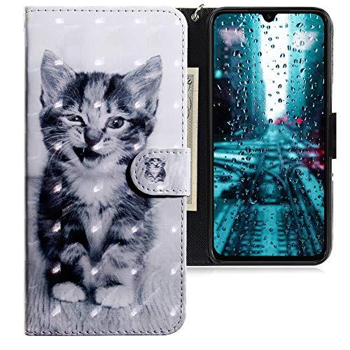 CLM-Tech Hülle kompatibel mit Xiaomi Mi 9 SE - Tasche aus Kunstleder - Klapphülle mit Ständer & Kartenfächern, Katze schwarz weiß