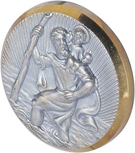 hr-imotion Sankt Christopherus Plakette mit goldenen Rahmen [Made in Germany | selbstklebend | 43mm Durchmesser] - 10210101