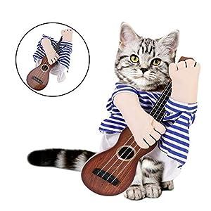 Costume de Guitare pour Animaux de Compagnie, Funny Guitar Player Costume pour Animaux de Compagnie Halloween vêtements de Cosplay Habiller pour Chiot Chien Chat pour Noël Anniversaire Cosplay