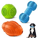 Dog Chew Toys 3 Pack, Dog Toys for Aggressive Chewers Large Breed, Multifunctional Teeth Cleaning and Gum Massage, Nearly Indestructible Tough Dog Toys with Natural Rubber for Large and Medium Dog