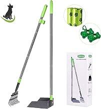 TNELTUEB Dog Pooper Scooper, Metal Pet Poop Tray & Rake - 37.4 Inches Pet Waste Removal Long Handle Bin with Rake for Dog, Green
