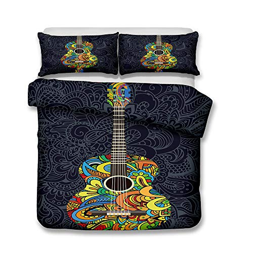 AHJJK Duvet cover set 87 x 94 inchColorful guitar 3D Printed Microfiber Bedding Duvet Cover with 2x Pillowcases & Zipper Closure Quilt Case for Boy Girl Single Double King Bed