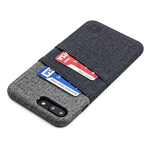 Dockem Luxe Funda Cartera para iPhone 8 Plus y 7 Plus: Funda Tarjetero Minimalista con Piel Sintética UltraGrip con Diseño de Tela, Cubierta Profesional Slim con 2 Ranuras para Tarjetas [Negro y Gris]