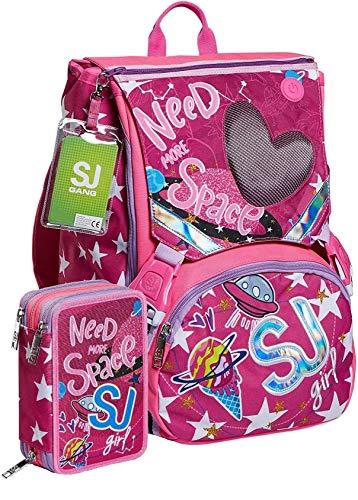 Schoolpack Zaino Seven SJ Gang Ledtech Girl Estensibile + Astuccio 3 Zip Completo