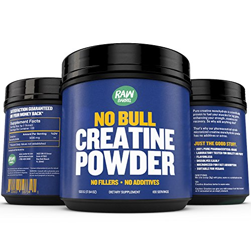 Creatine Monohydrate Powder - Faster Recovery, Muscle Mass Builder, Increase Volume, Strength, Power - Micronized for Fast Absorption - Pure Pharmaceutical Grade Supplement, 500g, 17.6 oz - Raw Barrel