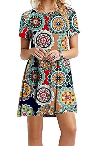 OMZIN Frauen Casual Gedruckt Kurzarm Einfach T-Shirt Lose Kleid Casual Kleid Locker Tunika Kleid Kurzarm Grüner Jahresring S