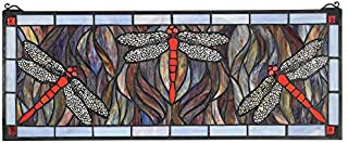 Design Toscano Colbalt Blue Dragonfly Tiffany-Style Stained Glass Window, Full Color