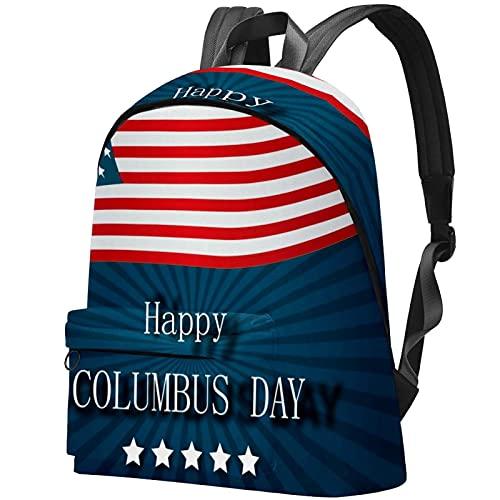 wuqiandian Zaini per donna Uomo Borsa da viaggio Zaino Happy Columbus Day. Zaino College